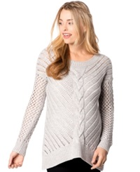 Wendy Bellissimo Maternity Open Knit Sweater Gray
