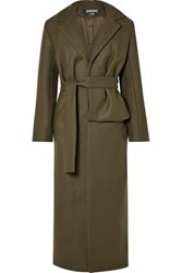 Jacquemus Aissa Belted Wool Blend Coat Army Green