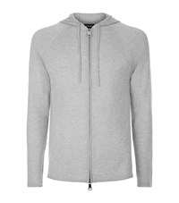 Emporio Armani Hooded Cashmere Blend Knit Jacket Male Light Grey