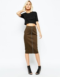 River Island Zip Front Pencil Skirt Khaki