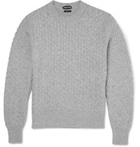 Tom Ford Slim Fit Cable Knit Cotton And Cashmere Blend Sweater Light Gray