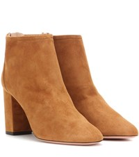 Aquazzura Downtown 85 Suede Ankle Boots Brown