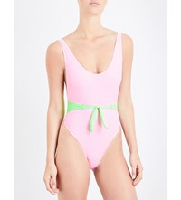 Maiden Front Bow Swimsuit Baby Pink Green Fluo