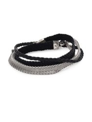 Title Of Work Gridlocks Sterling Silver And Braided Leather Micromesh Bracelet No Color