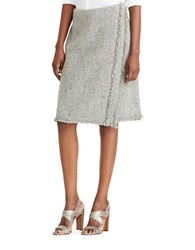 Lauren Ralph Lauren Fringed Wool Skirt Grey Multi