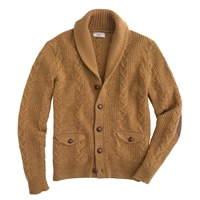 J.Crew Wallace And Barnes Cable Cardigan Hthr Caramel