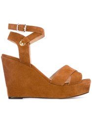 Tila March Cancun Wedge Sandals Women Leather Goat Suede 37 Nude Neutrals
