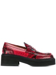 Marni Snakeskin Print Chunky Loafers Red