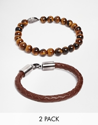 Simon Carter Leather And Semi Precious Bracelet Pack Brown