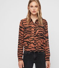 Allsaints Adeliza Zephyr Shirt Toffee Brown Black