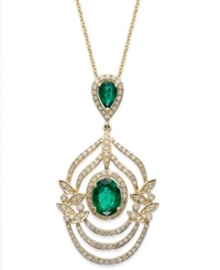 Effy Collection Brasilica By Effy Emerald 1 1 2 Ct. T.W. And Diamond 5 8 Ct. T.W. Drop Pendant In 14K Gold Green