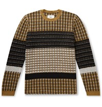 Folk Fraction Ribbed Wool Blend Sweater Yellow