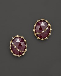 Lana Jewelry 14K Yellow Gold Rock Stud Earrings With Pink Sapphire