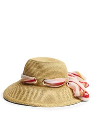 Missoni Mare Scarf Band Woven Straw Hat Beige