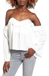 4Si3nna Women's Ruffle Off The Shoulder Blouse Off White