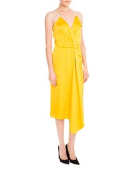 Victoria Beckham Draped Satin Midi Dress Yellow Pale Rose Yellow Pattern