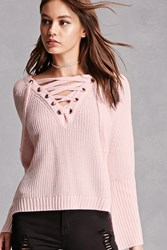 Forever 21 Haute Rogue Lace Up Sweater Blush