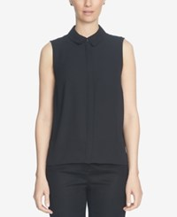 Cece Sleeveless Collared Top Rich Black