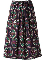 Aspesi Geometric Print Drawstring Skirt Black