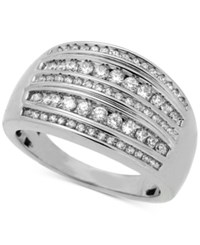 Macy's Diamond Multi Row Statement Ring 1 2 Ct. T.W. In Sterling Silver