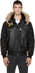 Parajumpers Black Leather And Fur Grizzly Bomber Jacket