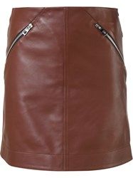 Loewe Leather Mini Skirt Brown