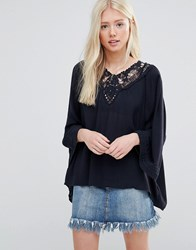 Vila Blouse With Crochet Neck And Tassels Total Eclipse Navy