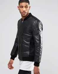 Religion Hawk Padded Leather Jacket Black
