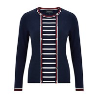 Viyella Nautical Stripe Cardigan Navy