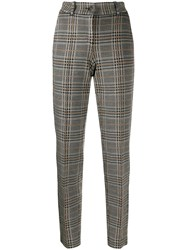 Cambio Checked High Waisted Trousers Black