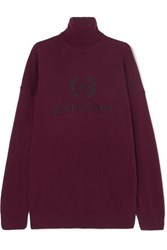 Balenciaga Embroidered Wool And Cashmere Blend Turtleneck Sweater Claret