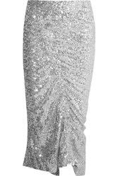 Preen By Thornton Bregazzi Gemma Ruched Sequined Stretch Jersey Midi Skirt Silver