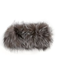 Adrienne Landau Fox Fur Headband Grey
