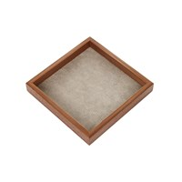 Alexander James Walnut Tray With Smoke Faux Shagreen Base 20X20cm