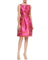 Lela Rose Metallic Space Dyed Full Skirt Dress Pink