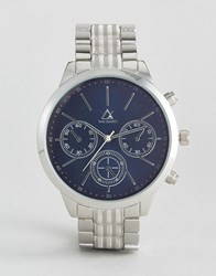 Asos Watch With Silver Bracelet And Navy Face Silver