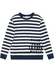 Gucci Cotton Sweatshirt With Patch Blue