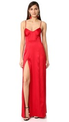 Michelle Mason Bustier Gown With Slit Red