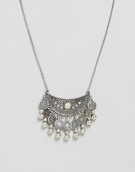Glamorous Disc Pendant Necklace Silver