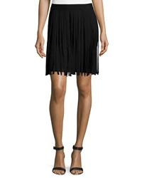 Chelsea And Theodore Fringe Overlay Knit Skirt Black