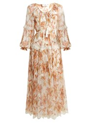 Zimmermann Oleander Crinkle Slouch Dress Ivory Multi