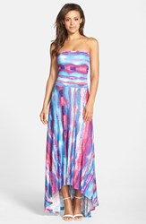 Petite Women's Felicity And Coco Strapless Neon Print Maxi Dress Blue Multi