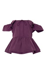 Rochas Off The Shoulder Peplum Top Purple