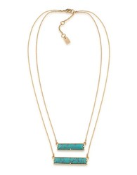 Lauren Ralph Lauren Match Point 12K Gold Plated Turquoise Two Row Rectangle Pendant Necklace