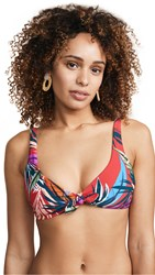 Red Carter Bow Front Triangle Bikini Top Pepper