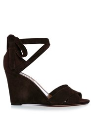Aquazzura Tarzan Suede Wedge Sandals Dark Brown