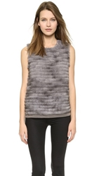 Vera Wang Mink Trim Gauze Shell Grey Blush
