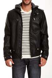 X Ray Faux Leather Hooded Jacket Black