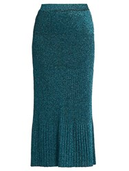 Missoni Metallic Ribbed Knit Midi Skirt Blue