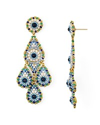 Miguel Ases Layered Triple Teardrop Drop Earrings Multi